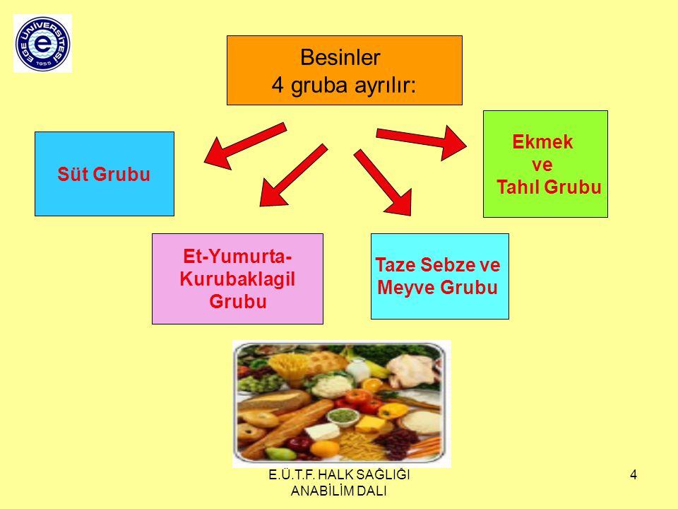 E.Ü.T.F. HALK SAĞLIĞI ANABİLİM DALI 4 Besinler 4 gruba ayrılır: Süt Grubu Ekmek ve Tahıl Grubu Et-Yumurta- Kurubaklagil Grubu Taze Sebze ve Meyve Grub