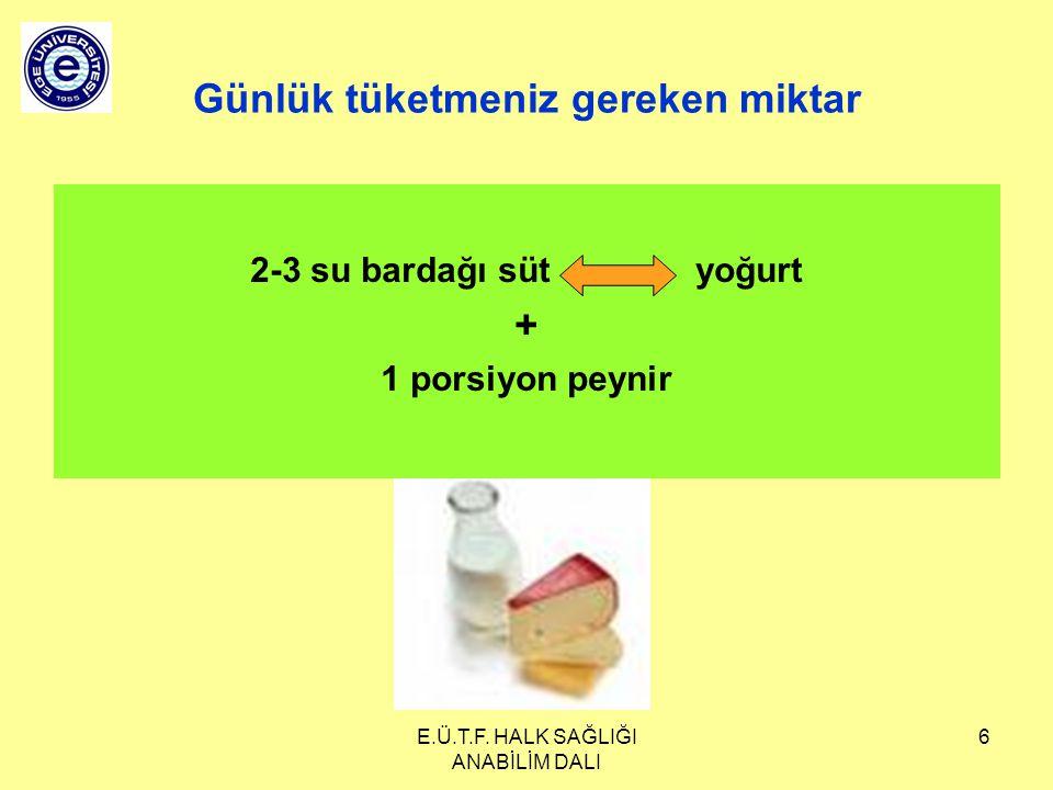 E.Ü.T.F. HALK SAĞLIĞI ANABİLİM DALI 6 Günlük tüketmeniz gereken miktar 2-3 su bardağı süt yoğurt + 1 porsiyon peynir