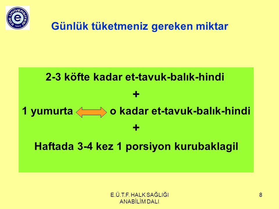 E.Ü.T.F. HALK SAĞLIĞI ANABİLİM DALI 8 Günlük tüketmeniz gereken miktar 2-3 köfte kadar et-tavuk-balık-hindi + 1 yumurta o kadar et-tavuk-balık-hindi +