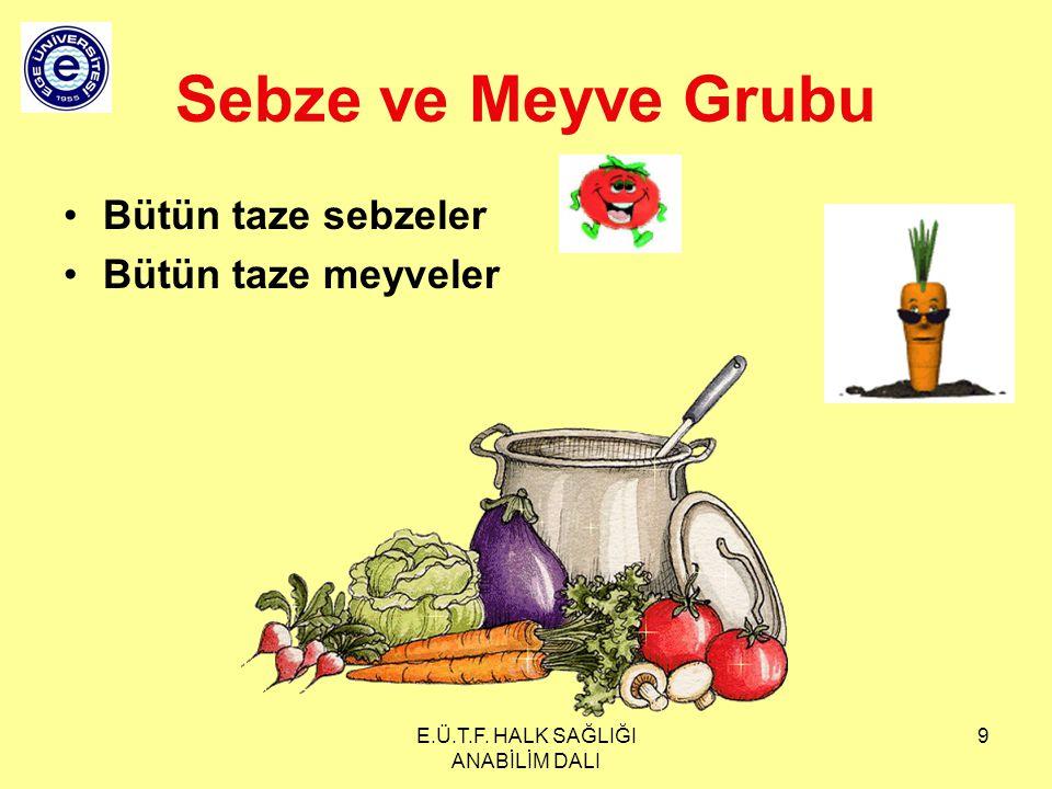 E.Ü.T.F. HALK SAĞLIĞI ANABİLİM DALI 9 Sebze ve Meyve Grubu Bütün taze sebzeler Bütün taze meyveler