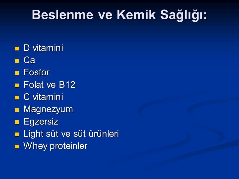 Beslenme ve Kemik Sağlığı: D vitamini D vitamini Ca Ca Fosfor Fosfor Folat ve B12 Folat ve B12 C vitamini C vitamini Magnezyum Magnezyum Egzersiz Egze