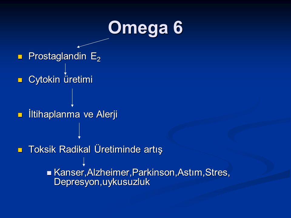 Omega 6 Prostaglandin E 2 Prostaglandin E 2 Cytokin üretimi Cytokin üretimi İltihaplanma ve Alerji İltihaplanma ve Alerji Toksik Radikal Üretiminde ar