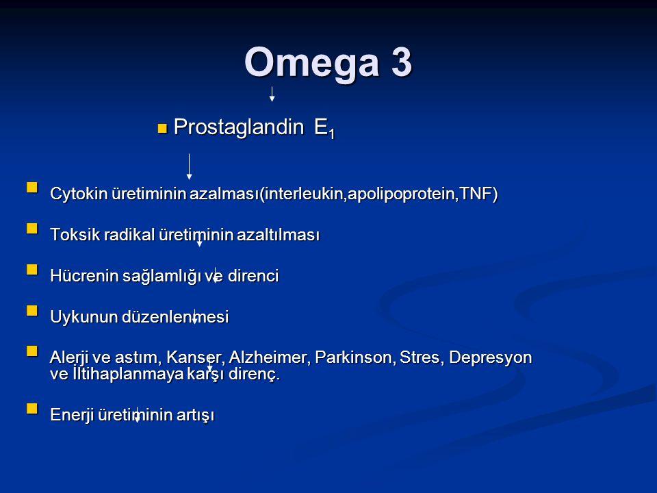 Omega 3 Prostaglandin E 1 Prostaglandin E 1 Cytokin üretiminin azalması(interleukin,apolipoprotein,TNF) Cytokin üretiminin azalması(interleukin,apolip