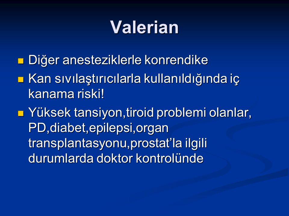Valerian Diğer anesteziklerle konrendike Diğer anesteziklerle konrendike Kan sıvılaştırıcılarla kullanıldığında iç kanama riski! Kan sıvılaştırıcılarl