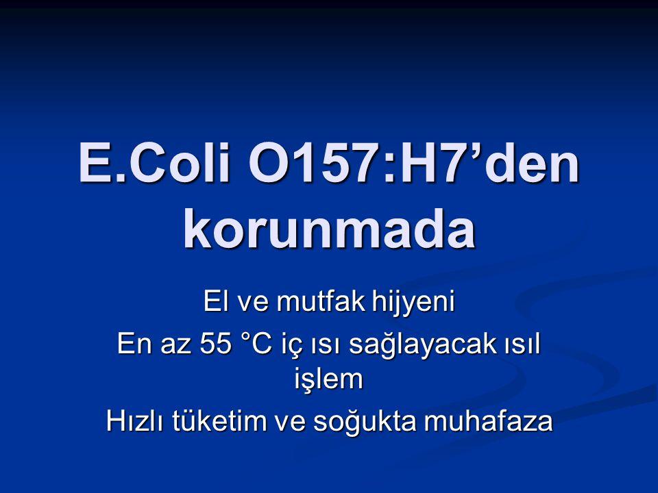 E.Coli O157:H7'den korunmada El ve mutfak hijyeni En az 55 °C iç ısı sağlayacak ısıl işlem Hızlı tüketim ve soğukta muhafaza