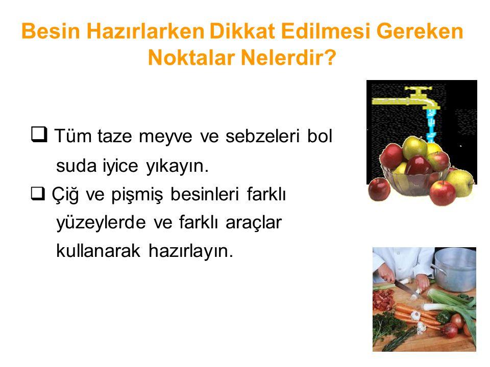 Besin Hazırlarken Dikkat Edilmesi Gereken Noktalar Nelerdir?  Tüm taze meyve ve sebzeleri bol suda iyice yıkayın.  Çiğ ve pişmiş besinleri farklı yü