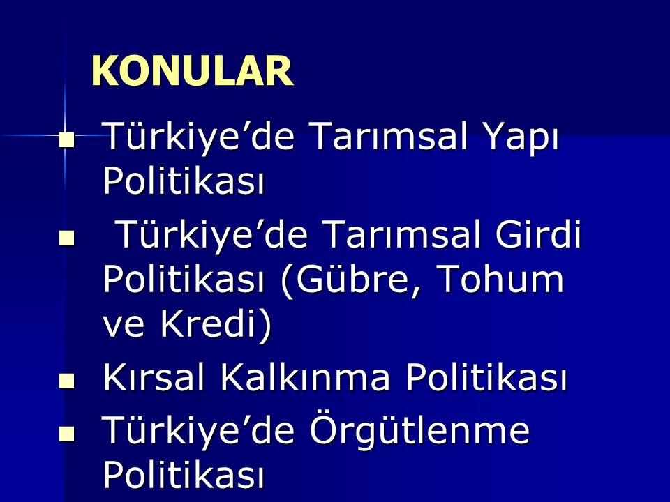 Türkiye'de Tarımsal Yapı Politikası Türkiye'de Tarımsal Yapı Politikası Türkiye'de Tarımsal Girdi Politikası (Gübre, Tohum ve Kredi) Türkiye'de Tarımsal Girdi Politikası (Gübre, Tohum ve Kredi) Kırsal Kalkınma Politikası Kırsal Kalkınma Politikası Türkiye'de Örgütlenme Politikası Türkiye'de Örgütlenme Politikası KONULAR KONULAR