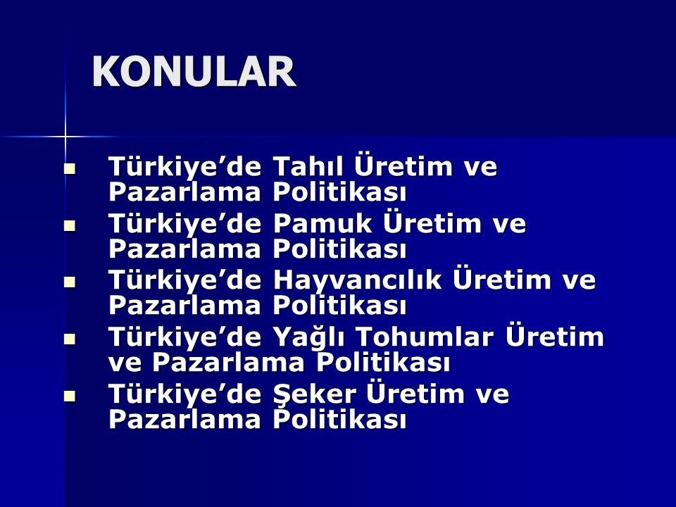 Türkiye'de Tahıl Üretim ve Pazarlama Politikası Türkiye'de Tahıl Üretim ve Pazarlama Politikası Türkiye'de Pamuk Üretim ve Pazarlama Politikası Türkiy