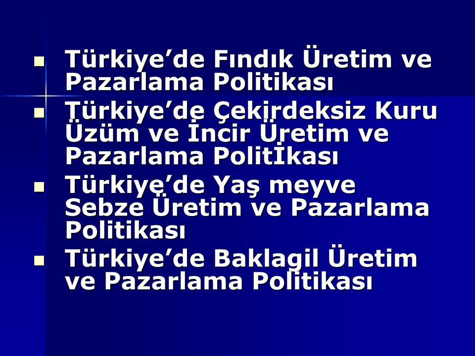 Türkiye'de Fındık Üretim ve Pazarlama Politikası Türkiye'de Fındık Üretim ve Pazarlama Politikası Türkiye'de Çekirdeksiz Kuru Üzüm ve İncir Üretim ve