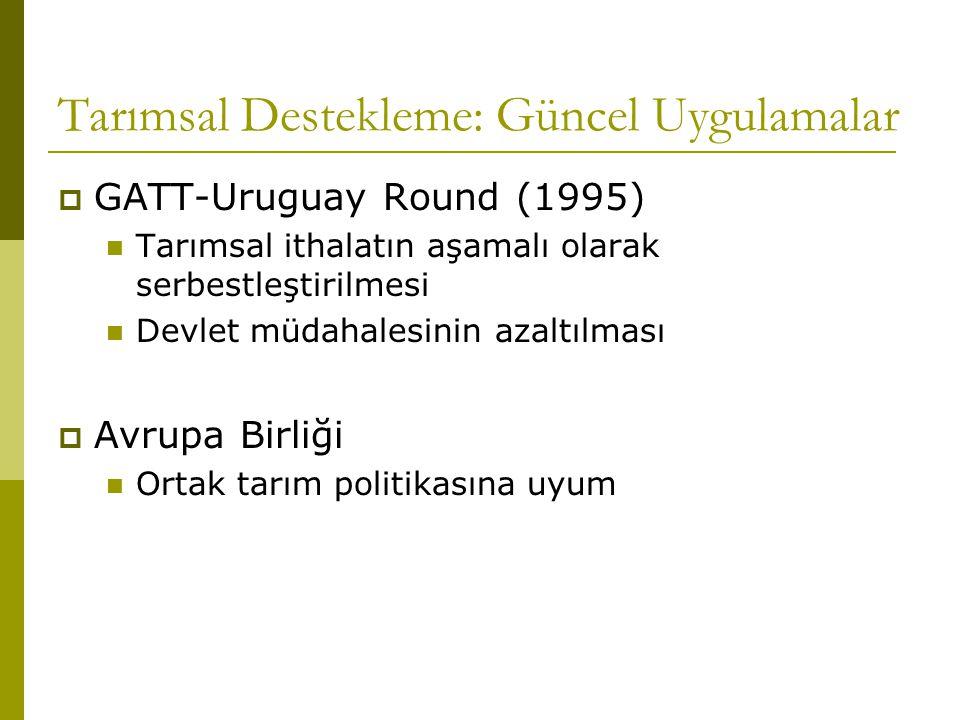 Tarımsal Destekleme: Güncel Uygulamalar  GATT-Uruguay Round (1995) Tarımsal ithalatın aşamalı olarak serbestleştirilmesi Devlet müdahalesinin azaltılması  Avrupa Birliği Ortak tarım politikasına uyum