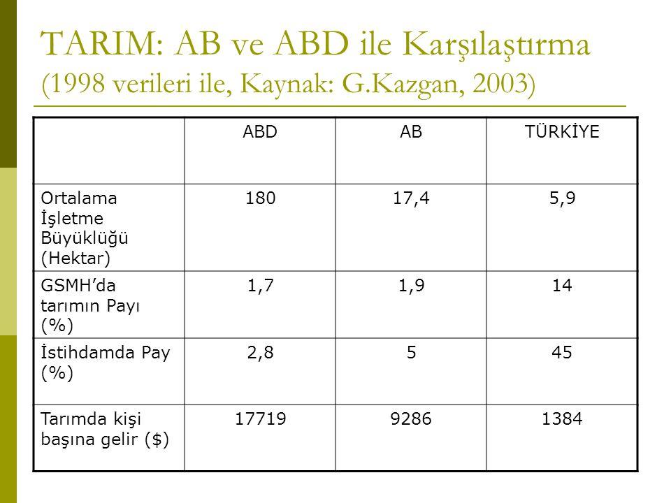 TARIM: AB ve ABD ile Karşılaştırma (1998 verileri ile, Kaynak: G.Kazgan, 2003) ABDABTÜRKİYE Ortalama İşletme Büyüklüğü (Hektar) 18017,45,9 GSMH'da tarımın Payı (%) 1,71,914 İstihdamda Pay (%) 2,8545 Tarımda kişi başına gelir ($) 1771992861384