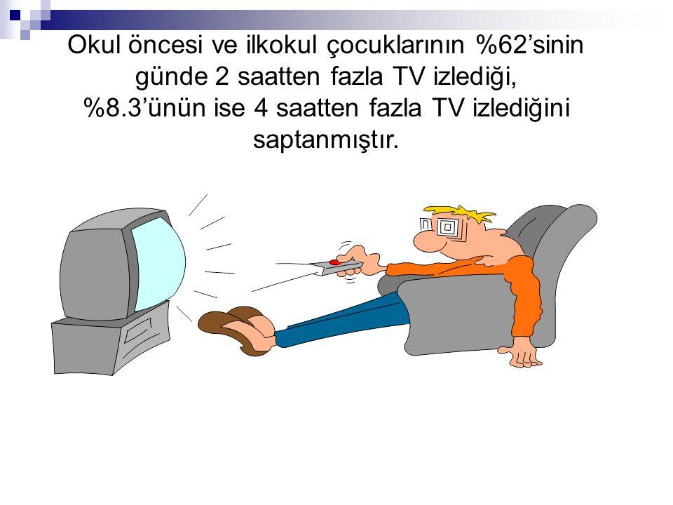 Okul öncesi ve ilkokul çocuklarının %62'sinin günde 2 saatten fazla TV izlediği, %8.3'ünün ise 4 saatten fazla TV izlediğini saptanmıştır.