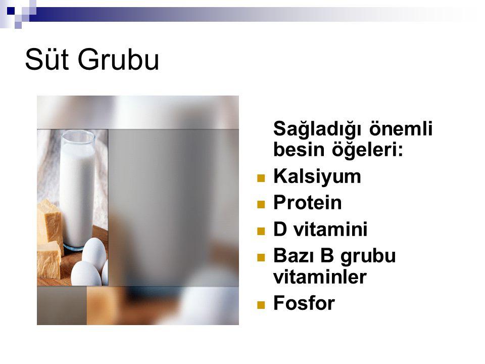 Süt Grubu Sağladığı önemli besin öğeleri: Kalsiyum Protein D vitamini Bazı B grubu vitaminler Fosfor