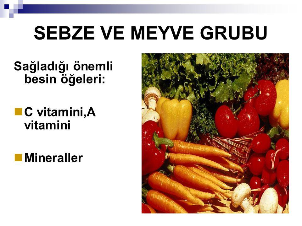 SEBZE VE MEYVE GRUBU Sağladığı önemli besin öğeleri: C vitamini,A vitamini Mineraller