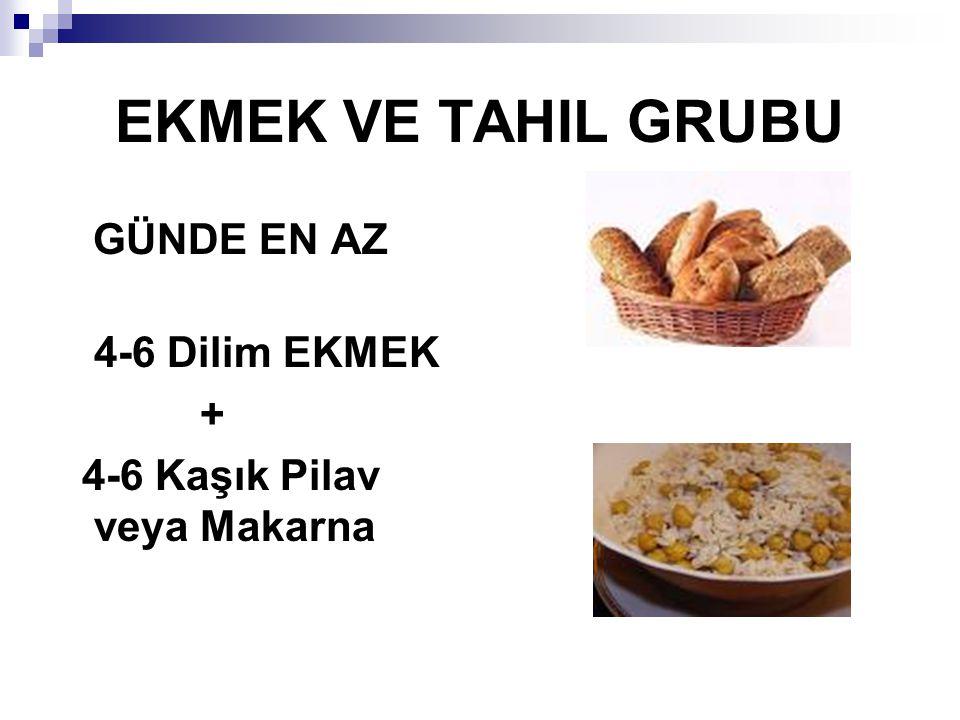 EKMEK VE TAHIL GRUBU GÜNDE EN AZ 4-6 Dilim EKMEK + 4-6 Kaşık Pilav veya Makarna