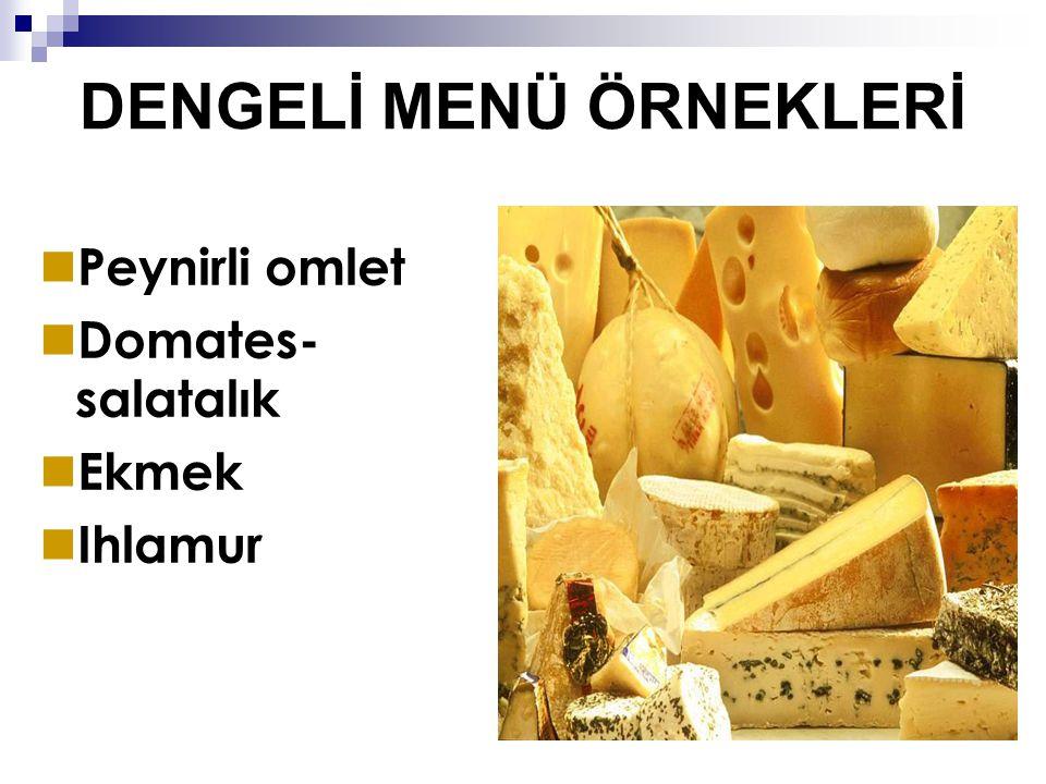 DENGELİ MENÜ ÖRNEKLERİ Peynirli omlet Domates- salatalık Ekmek Ihlamur
