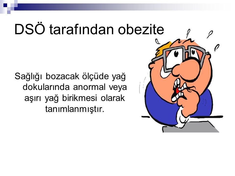 DSÖ tarafından obezite Sağlığı bozacak ölçüde yağ dokularında anormal veya aşırı yağ birikmesi olarak tanımlanmıştır.
