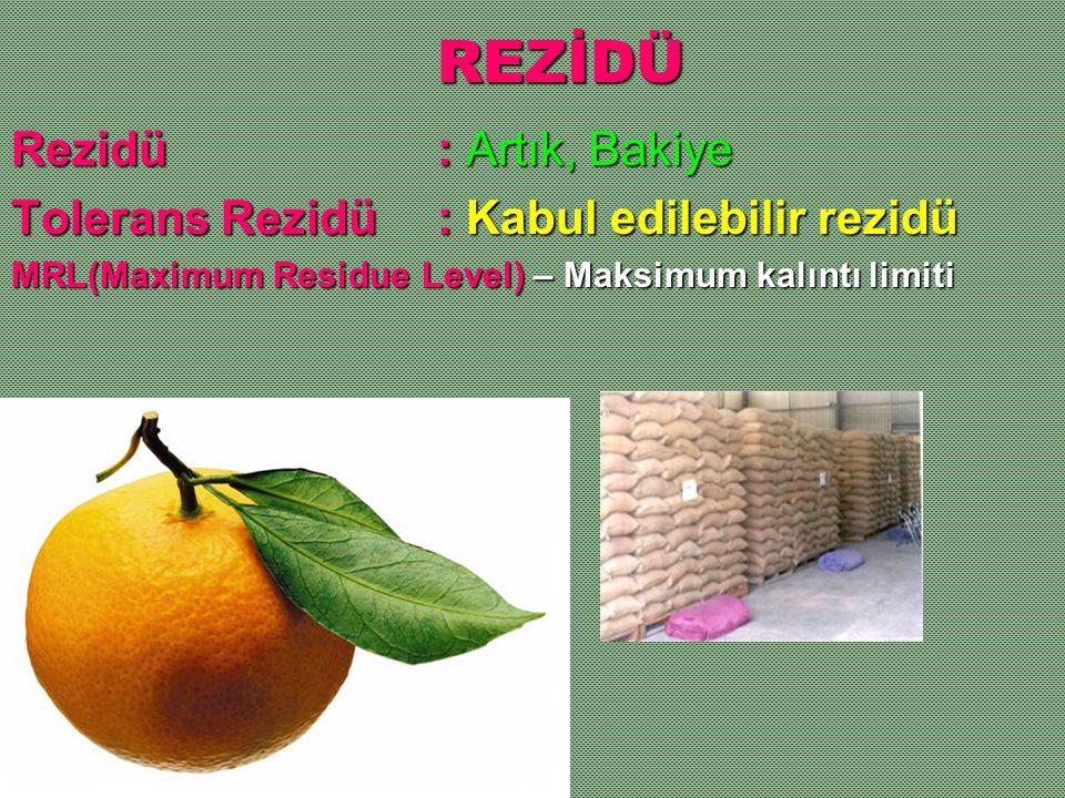 REZİDÜ Rezidü: Artık, Bakiye Tolerans Rezidü: Kabul edilebilir rezidü MRL(Maximum Residue Level) – Maksimum kalıntı limiti