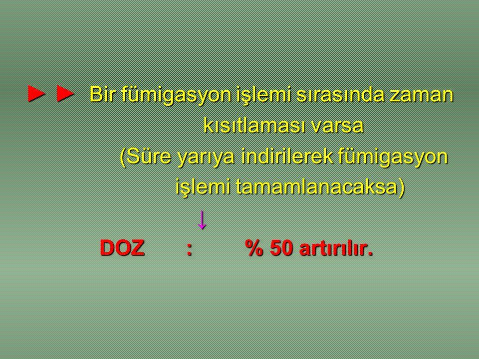 ► ► Bir fümigasyon işlemi sırasında zaman kısıtlaması varsa kısıtlaması varsa (Süre yarıya indirilerek fümigasyon (Süre yarıya indirilerek fümigasyon