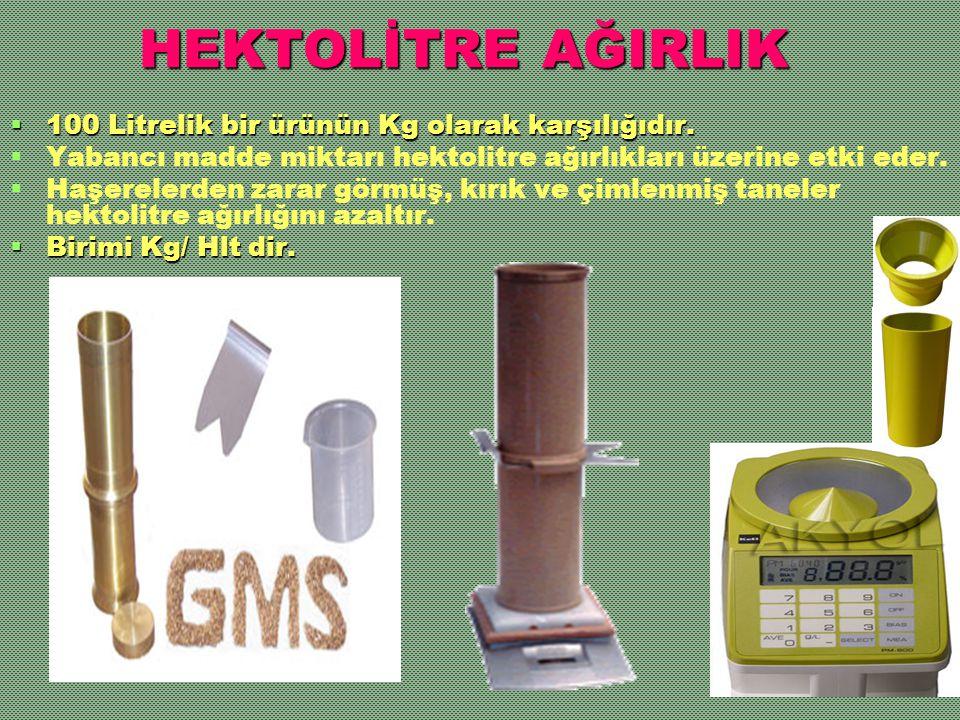 HEKTOLİTRE AĞIRLIK  100 Litrelik bir ürünün Kg olarak karşılığıdır.   Yabancı madde miktarı hektolitre ağırlıkları üzerine etki eder.   Haşereler