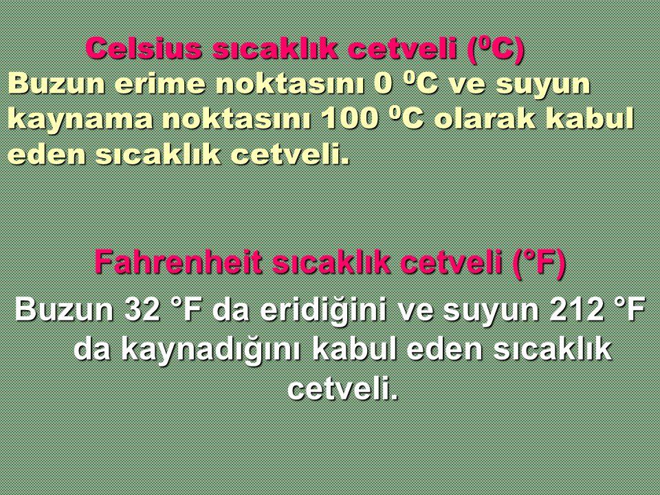 Celsius sıcaklık cetveli ( 0 C) Buzun erime noktasını 0 0 C ve suyun kaynama noktasını 100 0 C olarak kabul eden sıcaklık cetveli. Celsius sıcaklık ce