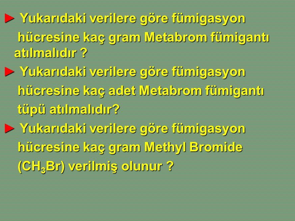 ► Yukarıdaki verilere göre fümigasyon hücresine kaç gram Metabrom fümigantı atılmalıdır ? hücresine kaç gram Metabrom fümigantı atılmalıdır ? ► Yukarı