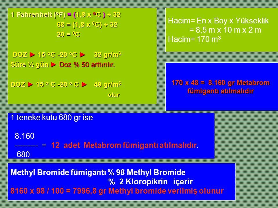 Hacim= En x Boy x Yükseklik = 8,5 m x 10 m x 2 m Hacim= 170 m 3 1 Fahrenheit ( o F) = (1,8 x o C ) + 32 68 = (1,8 x 0 C) + 32 68 = (1,8 x 0 C) + 32 20