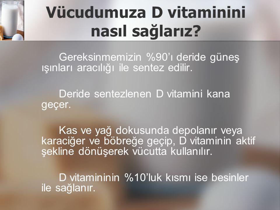 D vitamininin vücuda alımı D vitamininden zengin besinler karaciğer, yumurta sarısı ve yağlı balıklardır.
