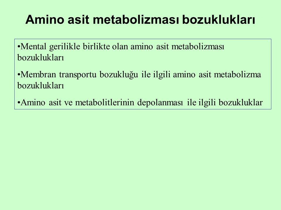 Mental gerilikle birlikte olan amino asit metabolizması bozuklukları Membran transportu bozukluğu ile ilgili amino asit metabolizma bozuklukları Amino asit ve metabolitlerinin depolanması ile ilgili bozukluklar Amino asit metabolizması bozuklukları