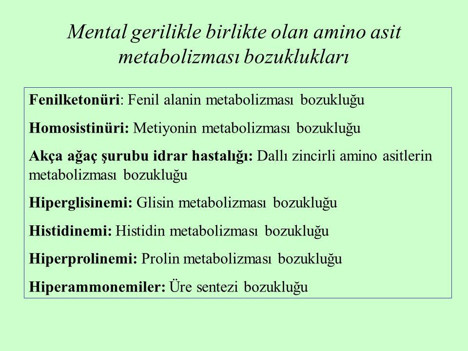 Fenilketonüri: Fenil alanin metabolizması bozukluğu Homosistinüri: Metiyonin metabolizması bozukluğu Akça ağaç şurubu idrar hastalığı: Dallı zincirli amino asitlerin metabolizması bozukluğu Hiperglisinemi: Glisin metabolizması bozukluğu Histidinemi: Histidin metabolizması bozukluğu Hiperprolinemi: Prolin metabolizması bozukluğu Hiperammonemiler: Üre sentezi bozukluğu Mental gerilikle birlikte olan amino asit metabolizması bozuklukları