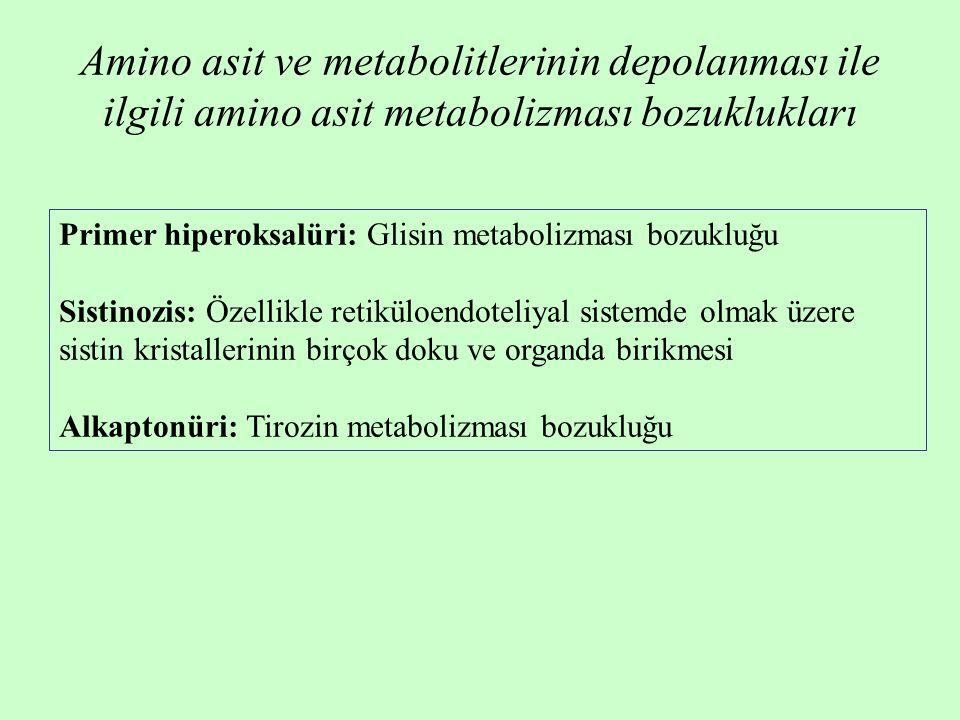 Primer hiperoksalüri: Glisin metabolizması bozukluğu Sistinozis: Özellikle retiküloendoteliyal sistemde olmak üzere sistin kristallerinin birçok doku ve organda birikmesi Alkaptonüri: Tirozin metabolizması bozukluğu Amino asit ve metabolitlerinin depolanması ile ilgili amino asit metabolizması bozuklukları
