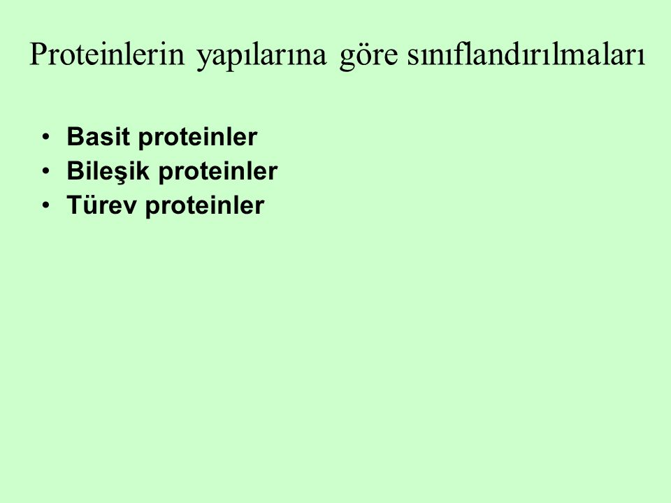Basit proteinler Globüler proteinler Albüminler Globülinler Globinler Glutelinler Prolaminler Protaminler Histonlar Fibriler proteinler Keratin Elastin Fibrinojen Miyozin