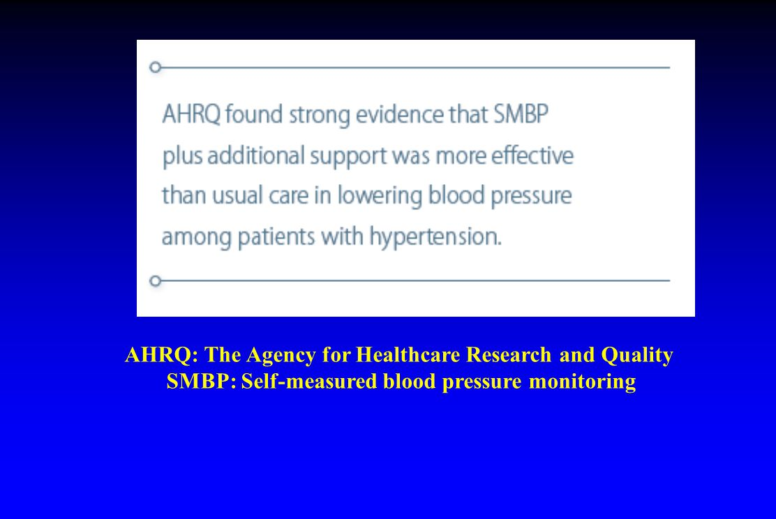AHRQ: The Agency for Healthcare Research and Quality SMBP: Self-measured blood pressure monitoring