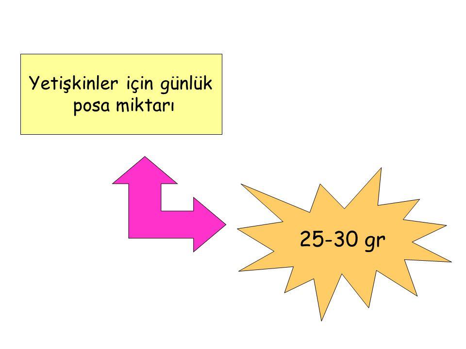 Yetişkinler için günlük posa miktarı 25-30 gr