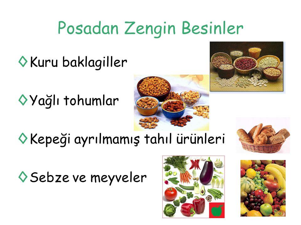 Posadan Zengin Besinler ◊Kuru baklagiller ◊Yağlı tohumlar ◊Kepeği ayrılmamış tahıl ürünleri ◊Sebze ve meyveler