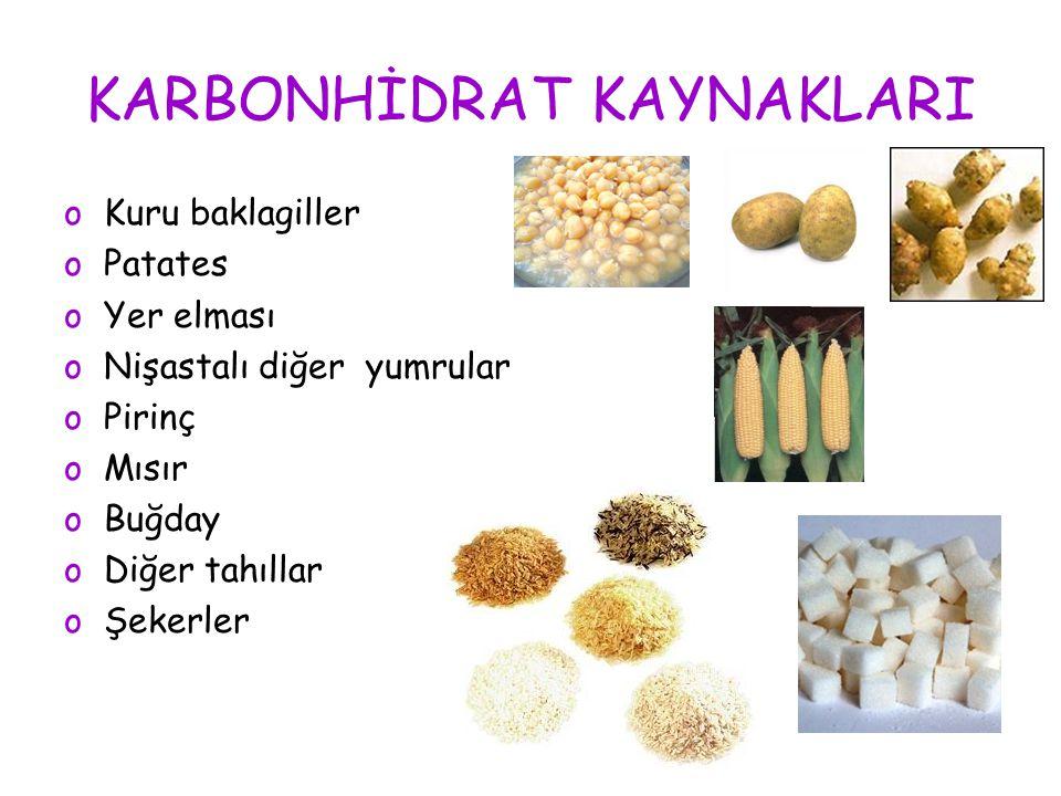 KARBONHİDRAT KAYNAKLARI oKuru baklagiller oPatates oYer elması oNişastalı diğer yumrular oPirinç oMısır oBuğday oDiğer tahıllar oŞekerler
