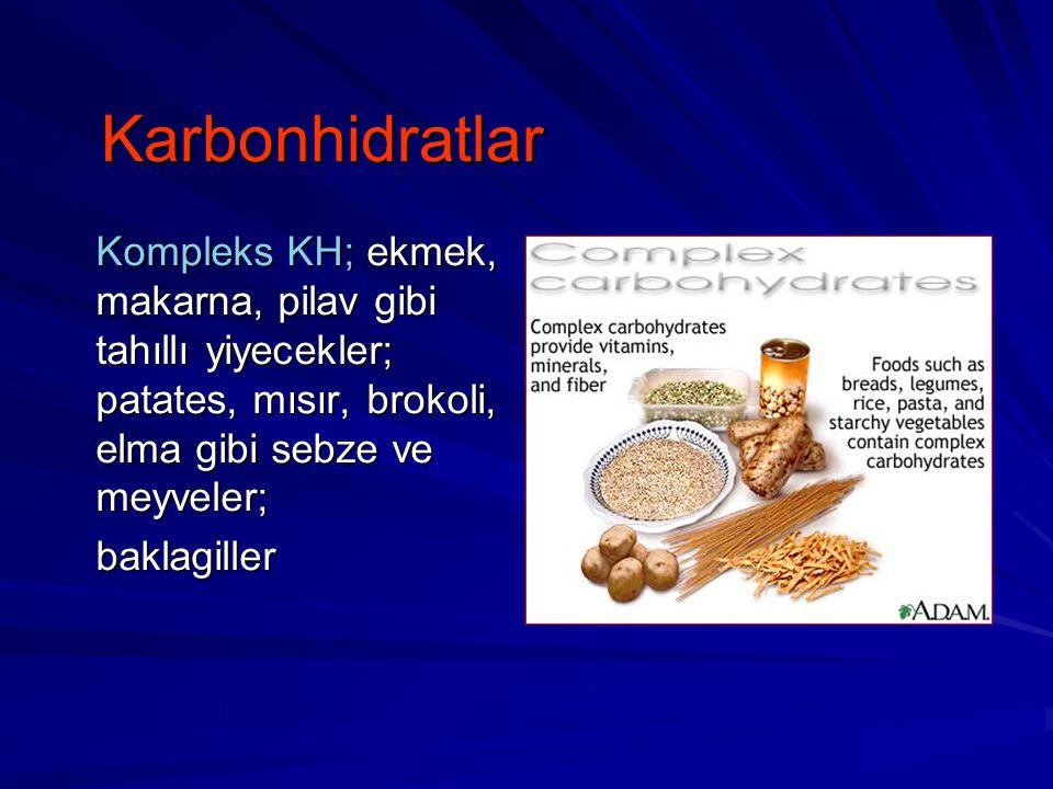 Karbonhidratlar Karbonhidratlar Kompleks KH; ekmek, makarna, pilav gibi tahıllı yiyecekler; patates, mısır, brokoli, elma gibi sebze ve meyveler; bakl