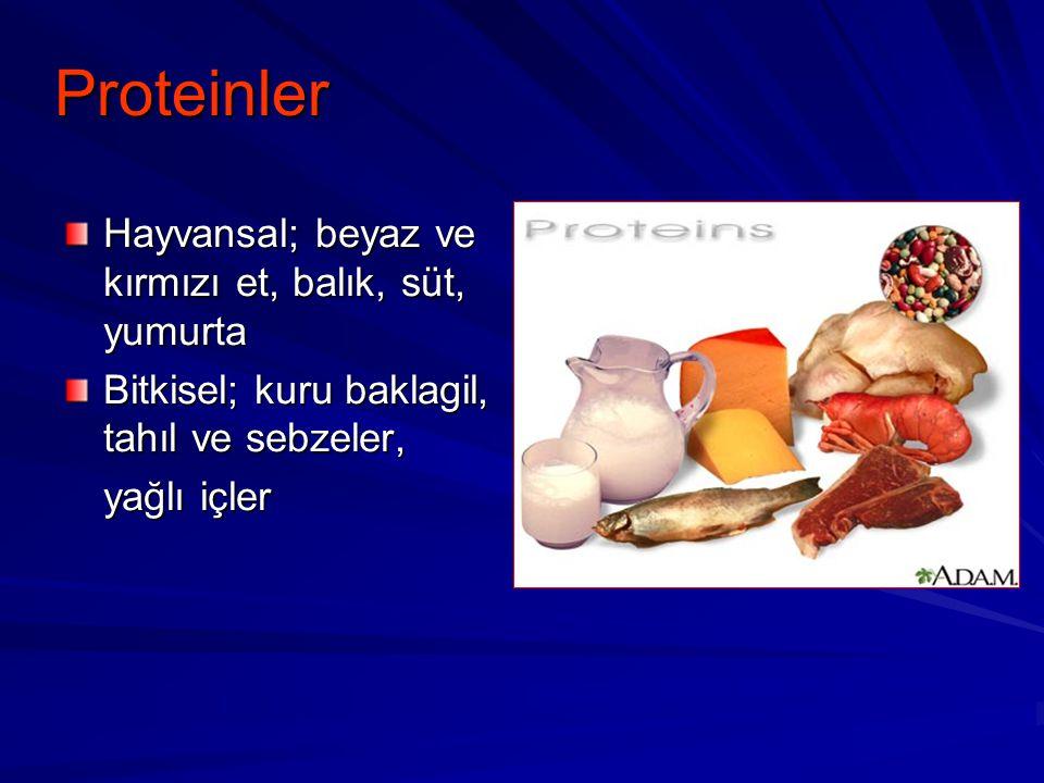 Proteinler Hayvansal; beyaz ve kırmızı et, balık, süt, yumurta Bitkisel; kuru baklagil, tahıl ve sebzeler, yağlı içler