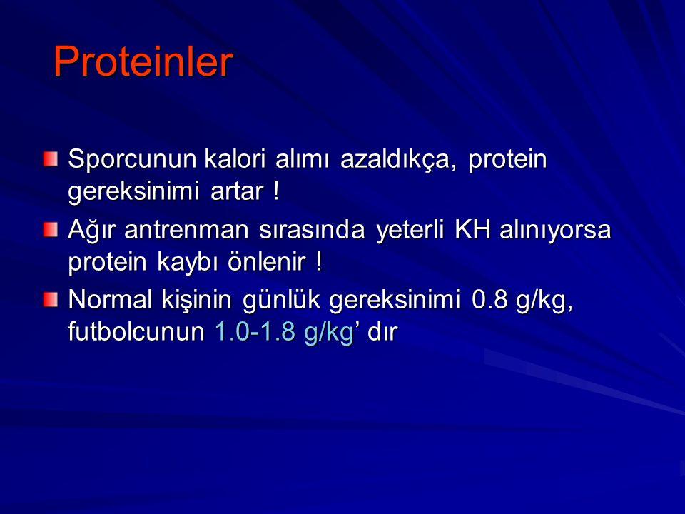 Proteinler Sporcunun kalori alımı azaldıkça, protein gereksinimi artar ! Ağır antrenman sırasında yeterli KH alınıyorsa protein kaybı önlenir ! Normal