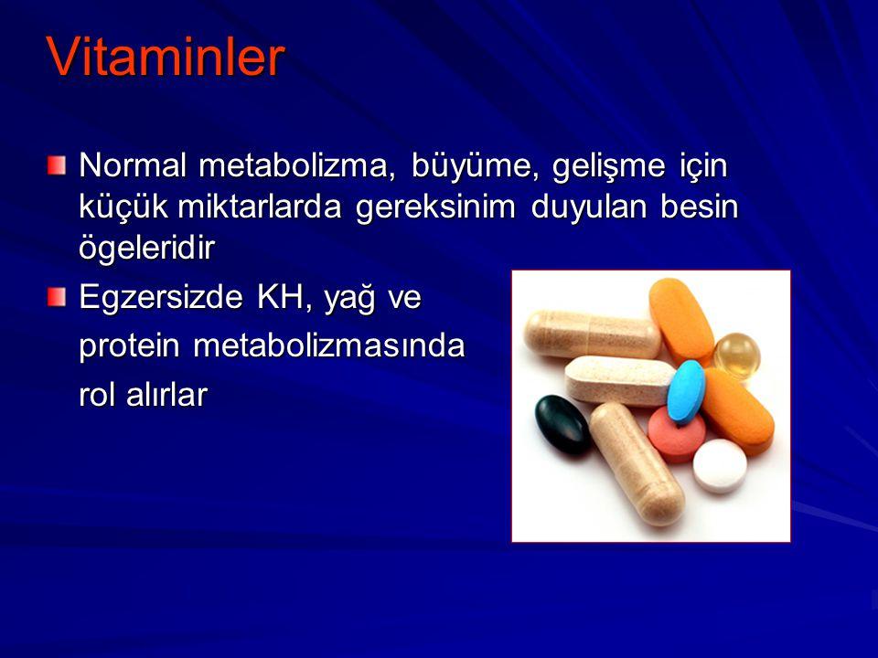 Vitaminler Normal metabolizma, büyüme, gelişme için küçük miktarlarda gereksinim duyulan besin ögeleridir Egzersizde KH, yağ ve protein metabolizmasın