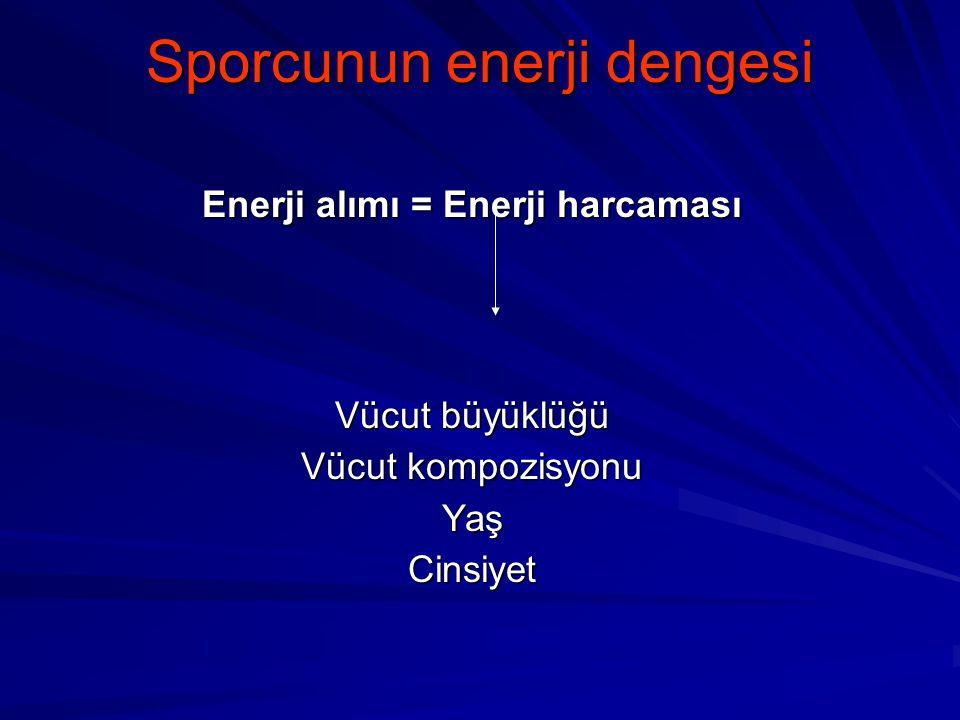Sporcunun enerji dengesi Enerji alımı = Enerji harcaması Vücut büyüklüğü Vücut kompozisyonu YaşCinsiyet
