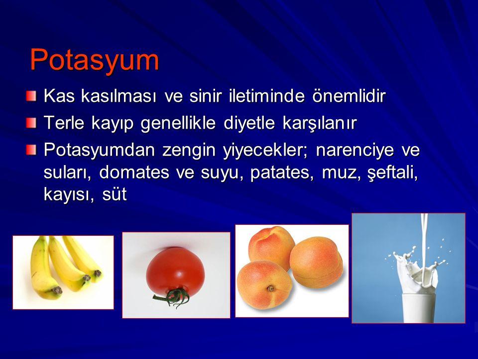 Potasyum Kas kasılması ve sinir iletiminde önemlidir Terle kayıp genellikle diyetle karşılanır Potasyumdan zengin yiyecekler; narenciye ve suları, dom