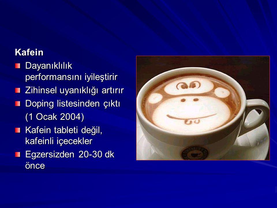 Kafein Dayanıklılık performansını iyileştirir Zihinsel uyanıklığı artırır Doping listesinden çıktı (1 Ocak 2004) Kafein tableti değil, kafeinli içecek