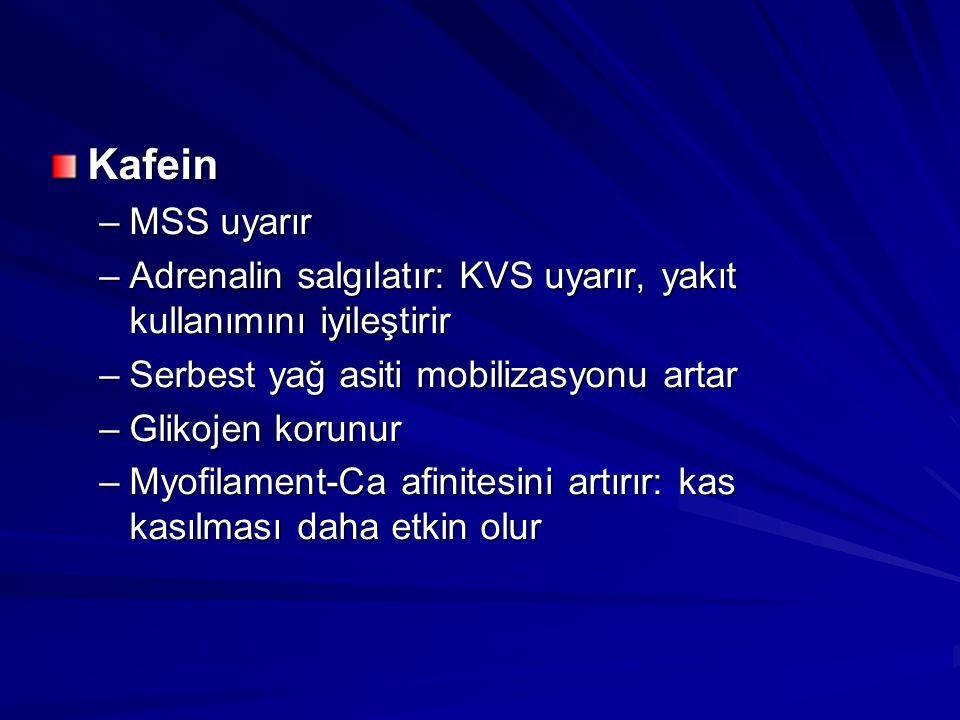 Kafein –MSS uyarır –Adrenalin salgılatır: KVS uyarır, yakıt kullanımını iyileştirir –Serbest yağ asiti mobilizasyonu artar –Glikojen korunur –Myofilam