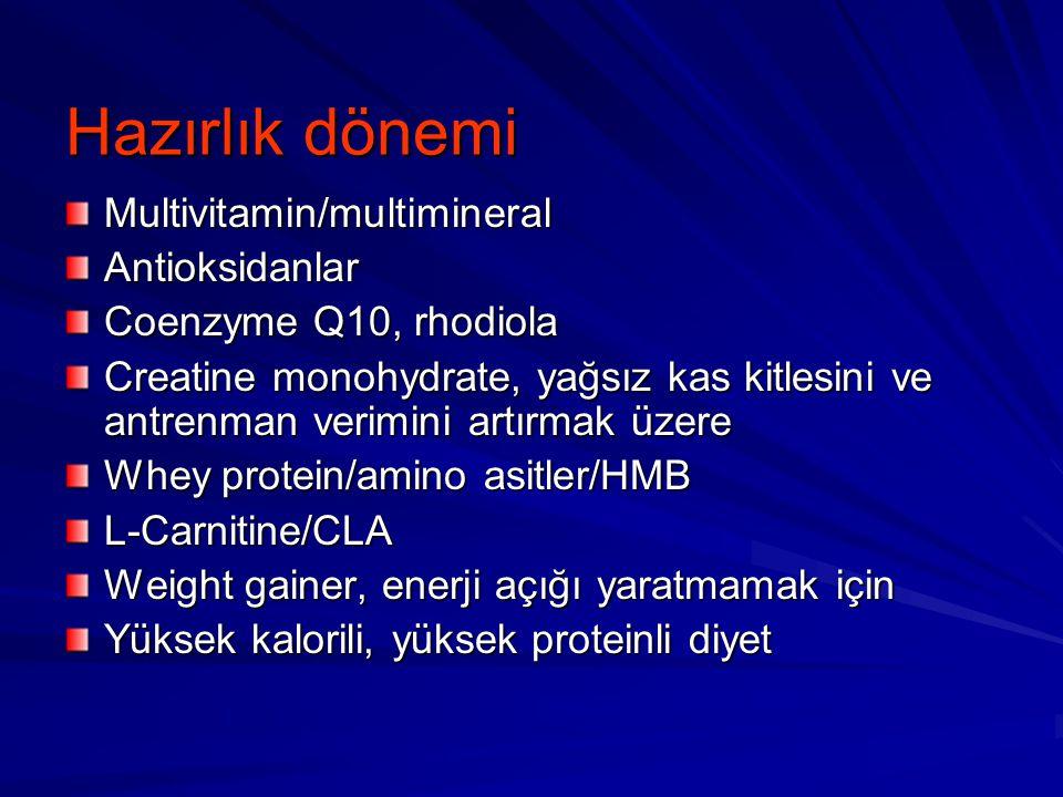 Hazırlık dönemi Multivitamin/multimineralAntioksidanlar Coenzyme Q10, rhodiola Creatine monohydrate, yağsız kas kitlesini ve antrenman verimini artırm