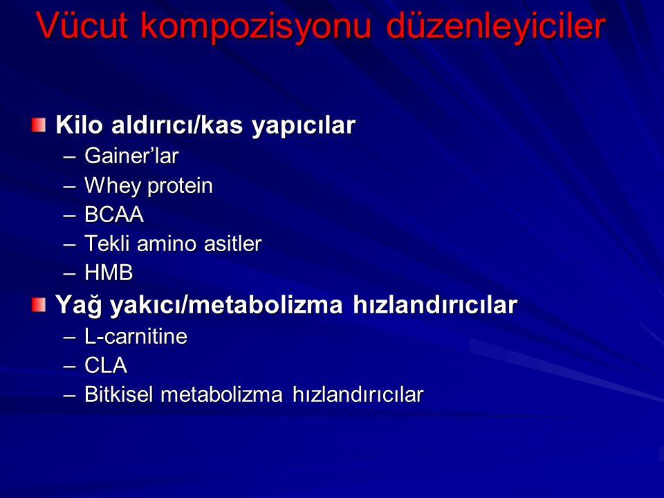Vücut kompozisyonu düzenleyiciler Kilo aldırıcı/kas yapıcılar –Gainer'lar –Whey protein –BCAA –Tekli amino asitler –HMB Yağ yakıcı/metabolizma hızland