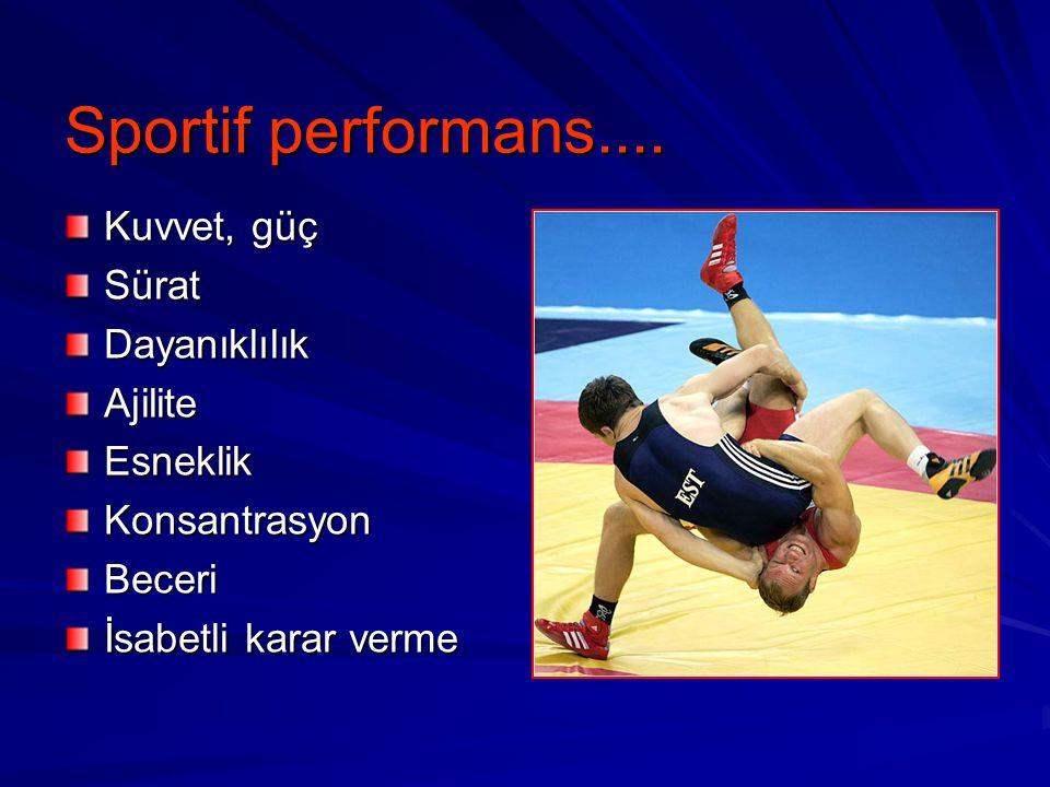 Sportif performans.... Kuvvet, güç SüratDayanıklılıkAjiliteEsneklikKonsantrasyonBeceri İsabetli karar verme
