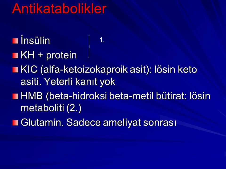 Antikatabolikler İnsülin KH + protein KIC (alfa-ketoizokaproik asit): lösin keto asiti. Yeterli kanıt yok HMB (beta-hidroksi beta-metil bütirat: lösin