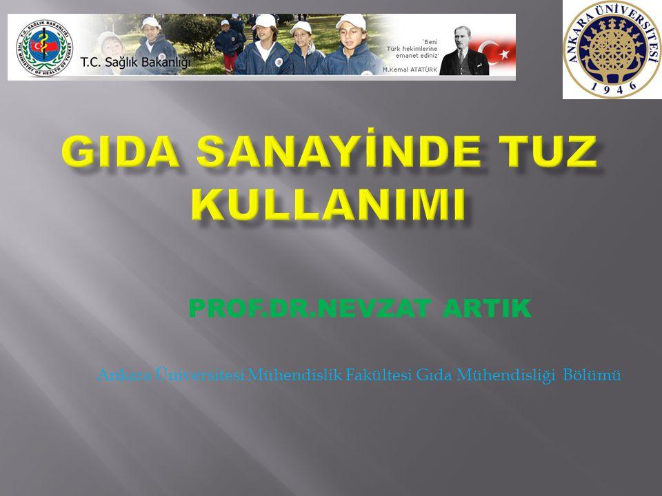 PROF.DR.NEVZAT ARTIK Ankara Üniversitesi Mühendislik Fakültesi Gıda Mühendisliği Bölümü