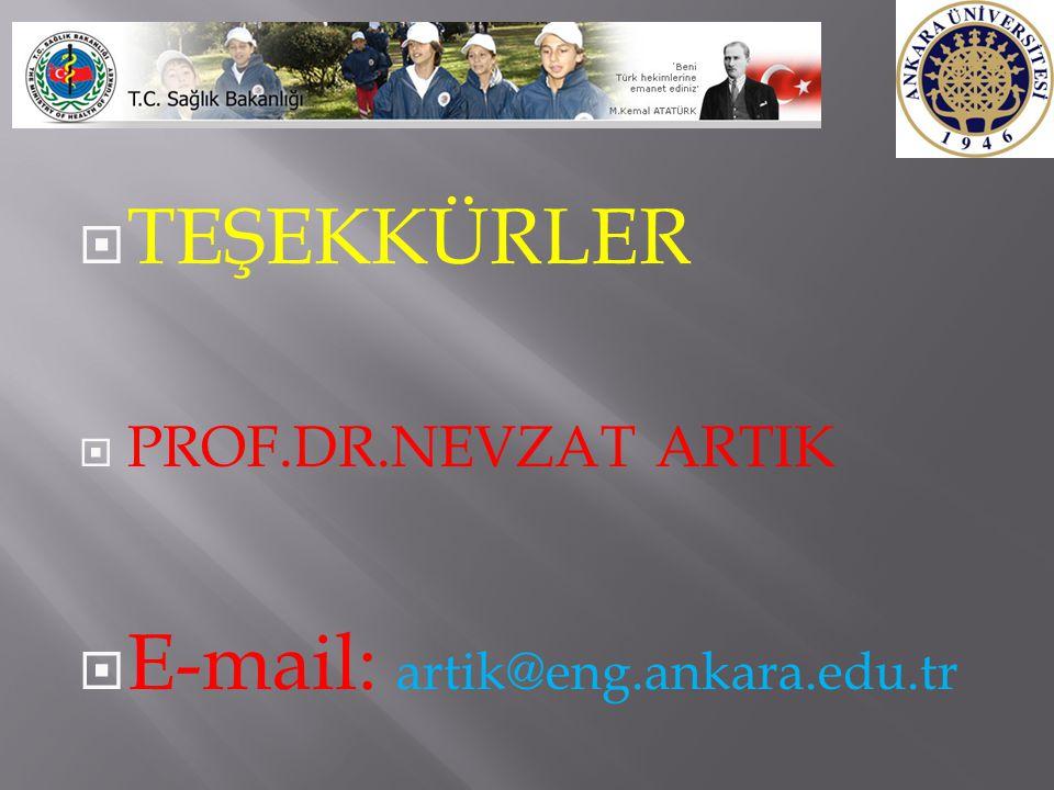  TEŞEKKÜRLER  PROF.DR.NEVZAT ARTIK  E-mail: artik@eng.ankara.edu.tr